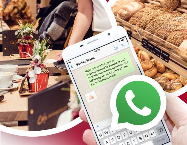 Bestellung und Tischreservierung mit Whatsapp bei Bäcker Frank